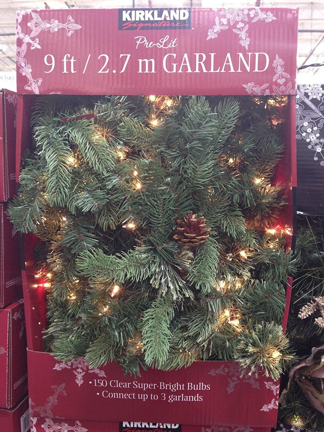 Amazon.com: Kirkland Signature 9 ft Pre-Lit Garland: Jardín ...