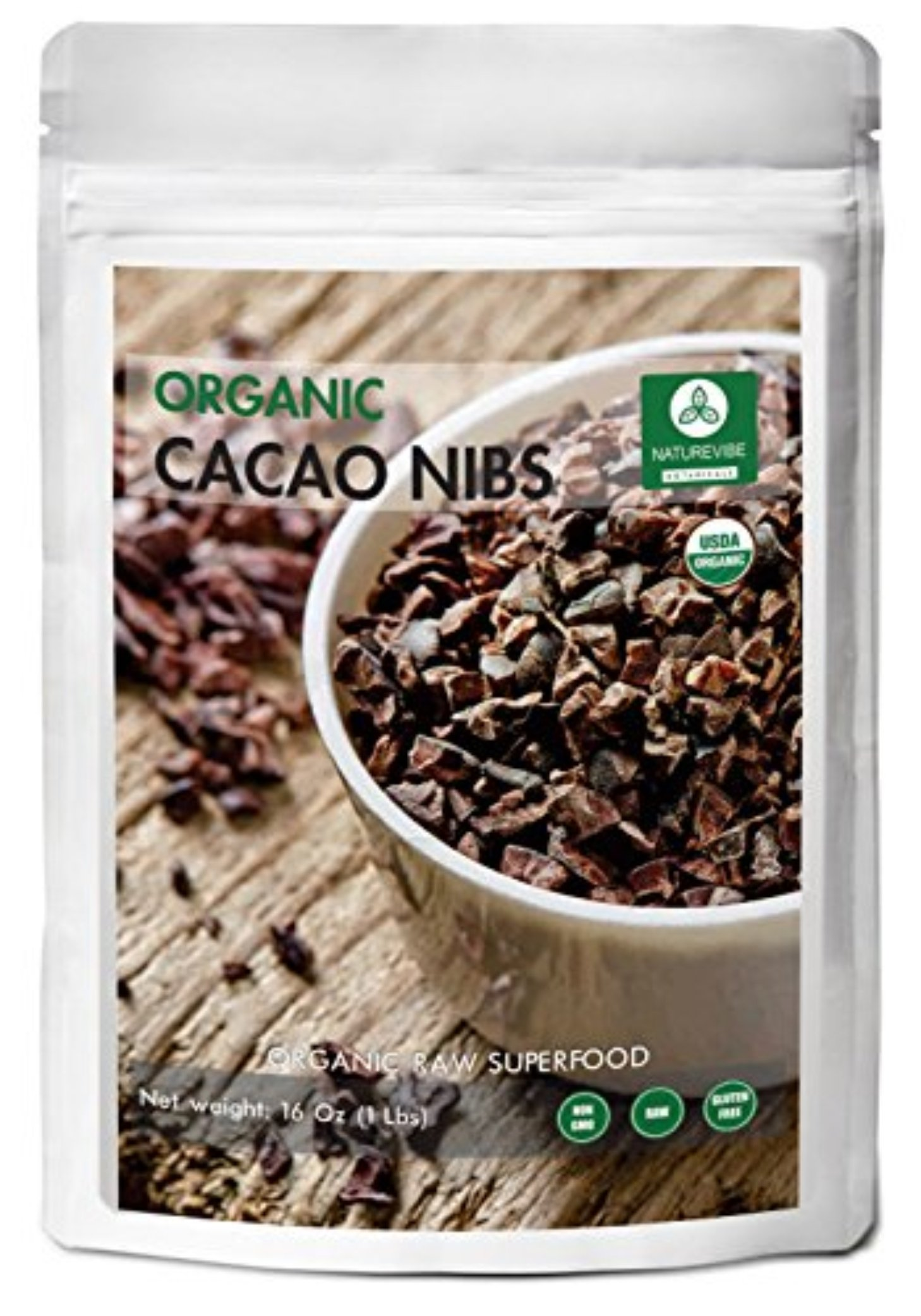 Organic Cacao Nibs (1lbs) by Naturevibe Botanicals, Gluten-Free & Non-GMO (16 ounces)