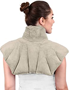 Large Microwavable Heating Pad for Neck and Shoulders, Neck Relief, Stress Relief, Anxiety Relief, Neck Wrap Alternative to Rice Bags for Heat Therapy (Gray Scented)