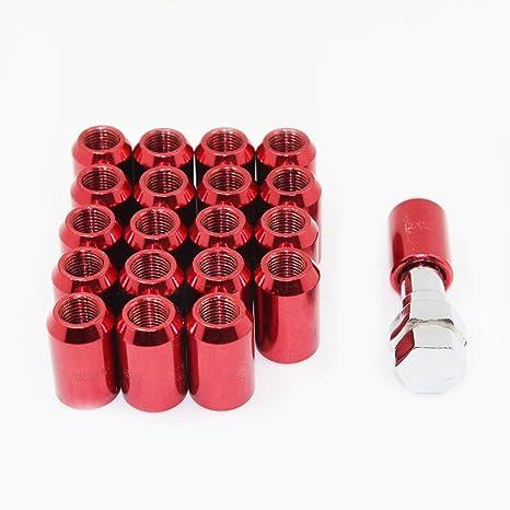 con 1 Chiave 20 Pezzi Dadi Ruota M12 x1.5 mm Dadi per Cerchi Nero in Lega di Alluminio