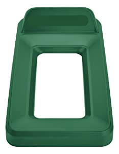 Rubbermaid Commercial Slim Jim Recycling Lid, Vertical, Open Top - Green, 2018220