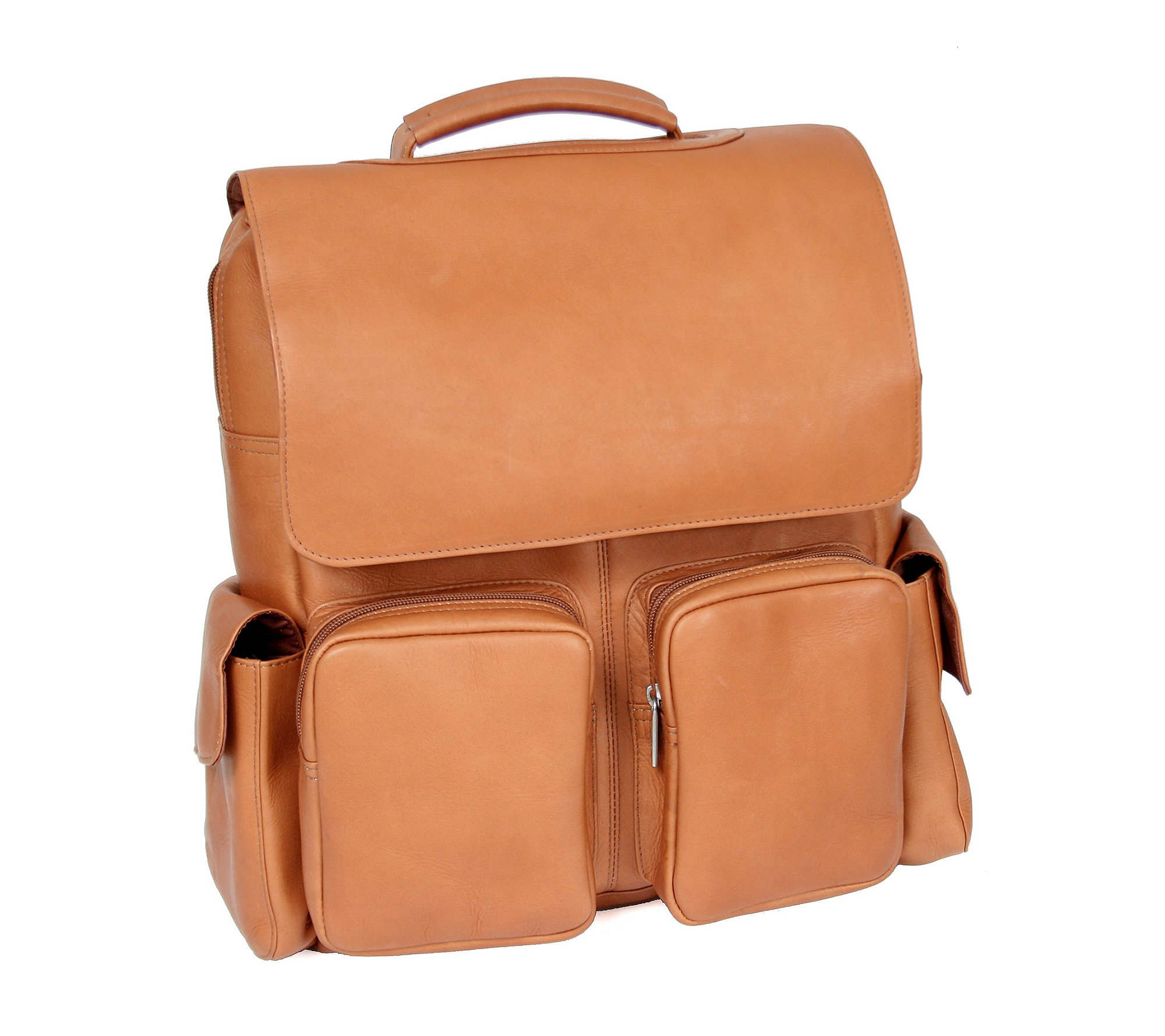 Royce Leather Vaquetta Leather Laptop Backpack Tan
