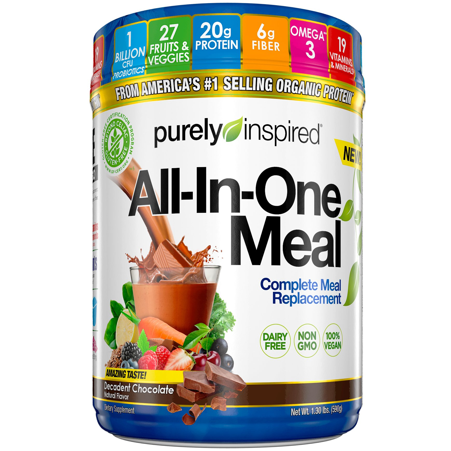 Purely Inspired All-in-One Meal Meal Replacement Shake Powder, Vegan, 20g Protein with Fiber, Vitamins, Minerals & Probiotics, Decadent Chocolate, 15 Servings (1.3lbs) by Purely Inspired