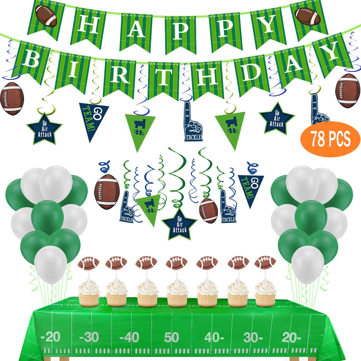 Football Birthday Party Decorations-Include Banners,2 Tablecovers(54x72),30Ct Hanging Swirl Decorations,24 Cupcake Toppers,20 Balloons for ...