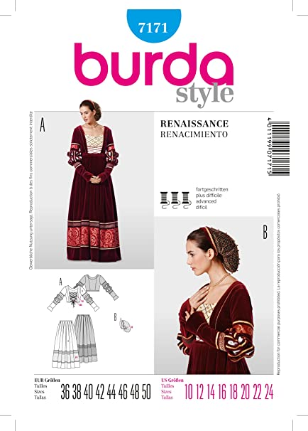 Amazon.com: 7171 Burda Style Womens Renaissance Costume Sewing ...