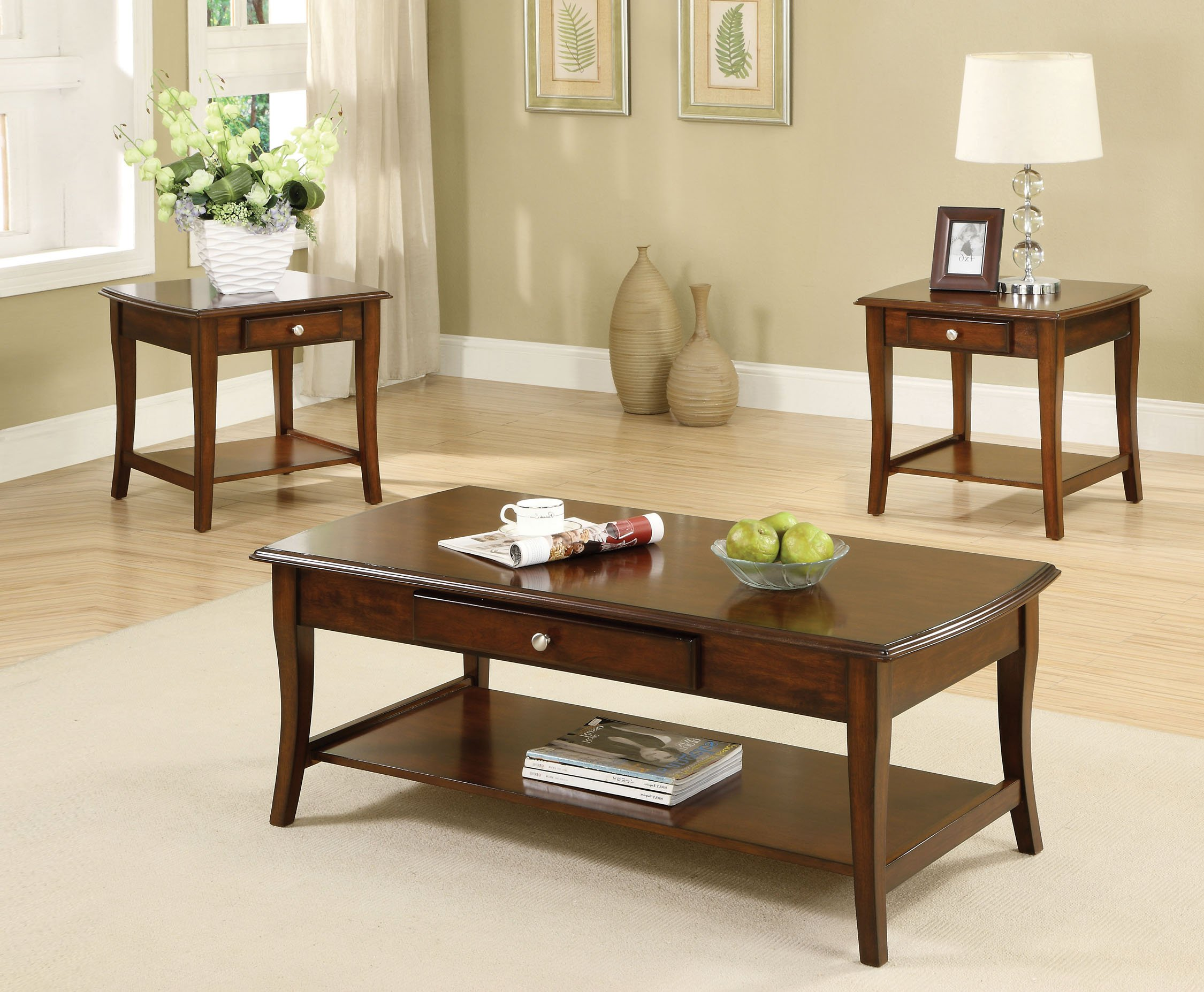 Furniture of America 3-Piece Lensar Table Set, Dark Oak Finish by Furniture of America
