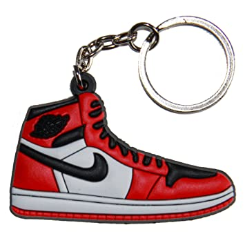 newest 475de 1c55b Air Jordan I 1 Black White Red Chicago Bulls Sneakers Shoes Keychain Keyring  AJ 23 Retro, Key Chains - Amazon Canada