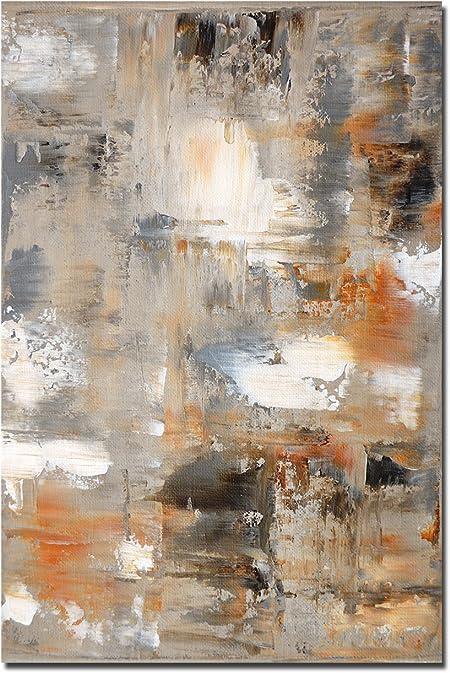 120 X 80 Cm Décoration Murale Peinture Art Abstrait Marron