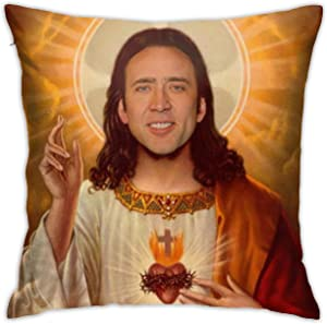 """HADIHADI Nicolas Cage Pillow Case 18"""" x 18"""" Inches Covers for Bedroom Safa Gifts, Double-Sided Printed (Pillow Core not Included)"""