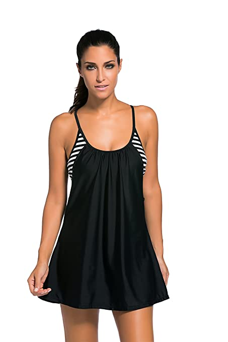 9421d7f13 Amazon.com  Lucklovell Sexy Women Flowing Swim Dress Layered 1pc Tankini Top  ((US 12-14) L