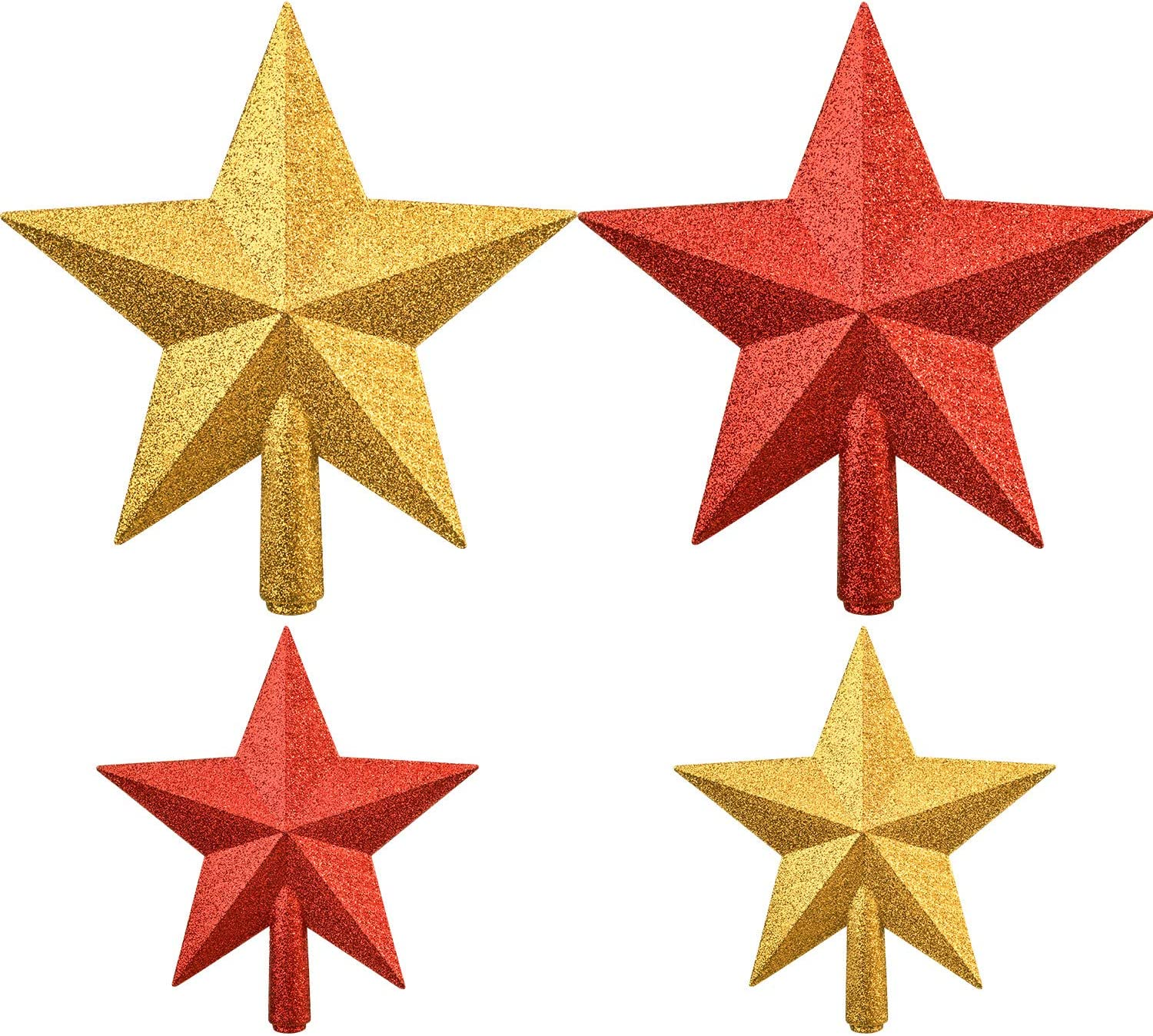 Boao 4 Pieces Glitter Star Tree Topper Christmas Tree Toppers Decorations for Xmas Tree Decoration, 2 Sizes (Gold and Red)