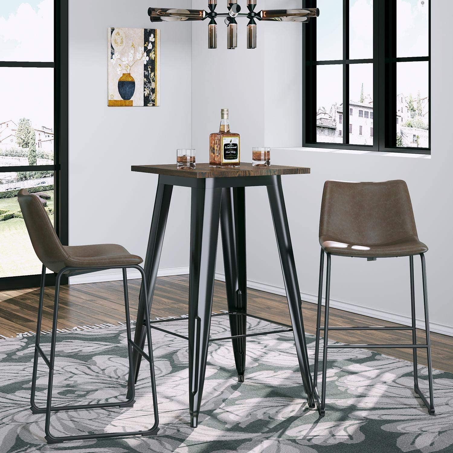 VIPEK 29 Brown Mid Century Modern Bar Stools /& Dining Table Set PU Faux Chair for Bistro Cafe Restaurant Kitchen Dining Room Patio Farmhouse Bar Table 41.3 High Table with Solid Wood
