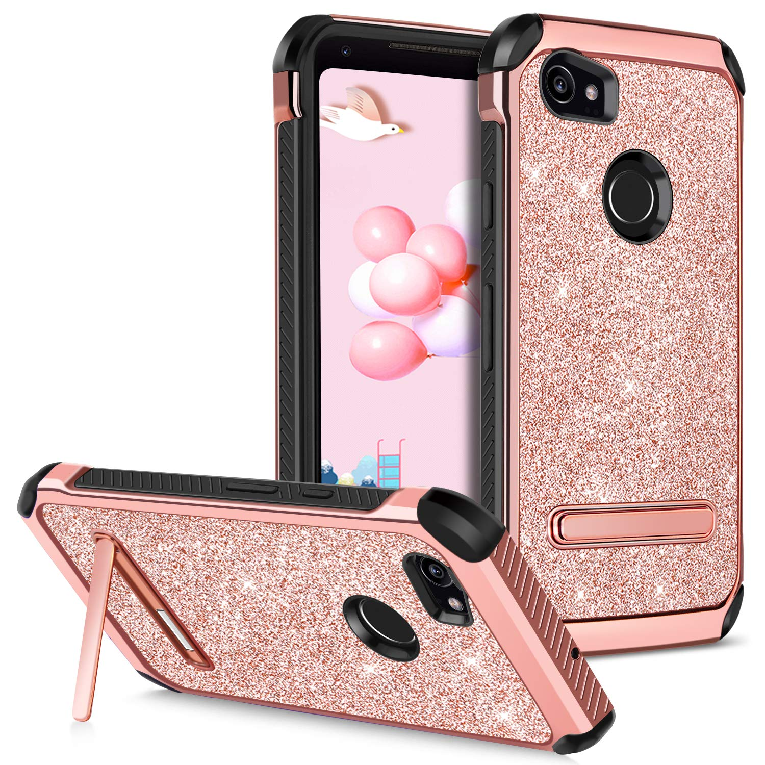 b4df08f321a Google Pixel 2 XL Case Kickstand GUAGUA Glitter Bling Dual Layer Hybrid  Hard PC with Shiny Faux Leather Anti-Slip Shockproof Protective Phone Case  for ...