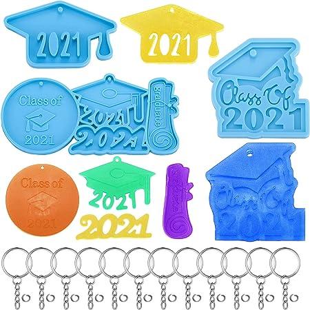 6 Pieces Graduation Resin Mould 2021 Graduation Cap Mould Graduation Keychain Silicone Mould with 12 Pieces Key Chains for Graduation Party DIY Jewelry Crafts Keychain Pendants Making