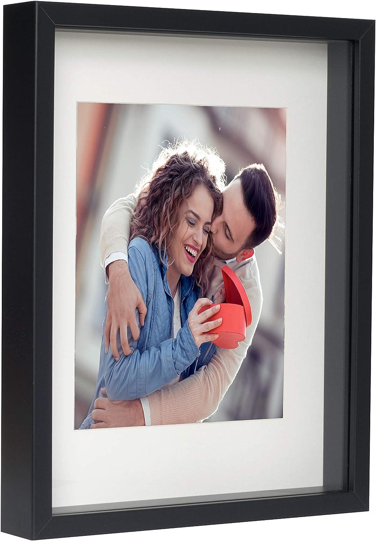 BD ART Marco 28 x 35 cm Box 3D para Fotos Color Negro con Paspartu para Fotos 20 x 25 cm. Frente de Vidrio.