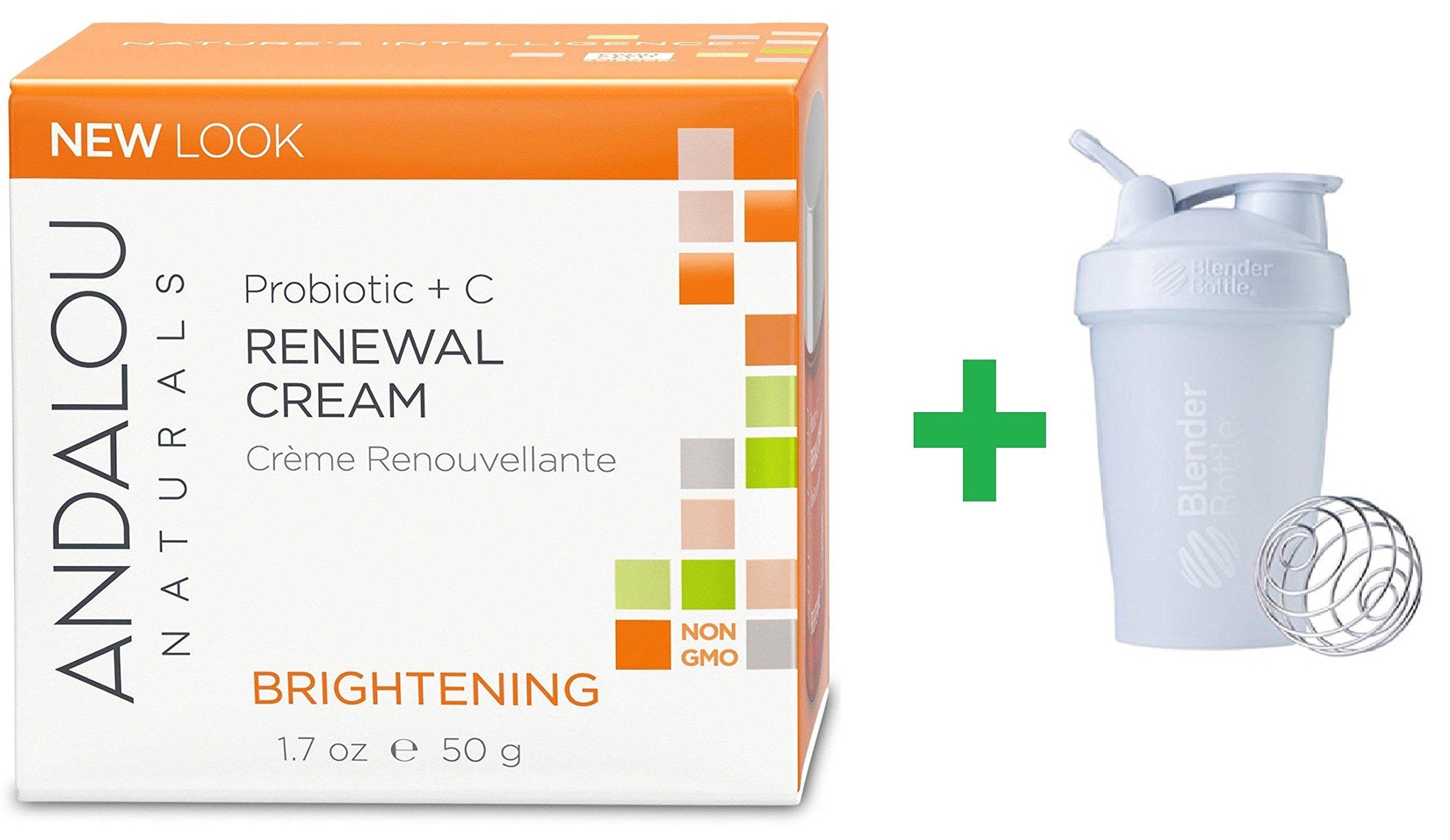 Andalou Naturals, Renewal Cream, Probiotic + C, Brightening, 1.7 fl oz (50 ml) + Sundesa, BlenderBottle, Classic With Loop, White, 20 oz