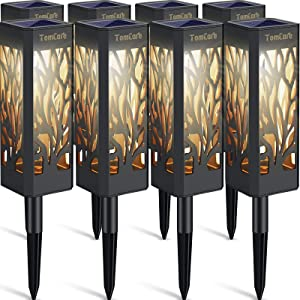 TomCare Solar Lights Outdoor Upgraded Bright Solar Pathway Lights Bigger Size Decorative Solar Garden Lights Waterproof Solar Powered Led Landscape Lighting for Path Lawn Patio Yard Walkway, 8 Pack