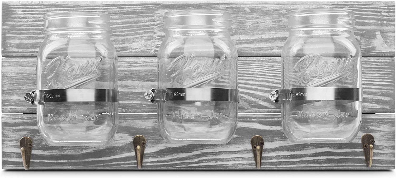 GBtroo Farmhouse Mason Jar Organizer Storage with Hooks, Rustic Hanging Wall Mason Jar with 3 Jars& 4 Hooks Ideal for Office, Bathroom, Kitchen, Entryway Decor, Grey