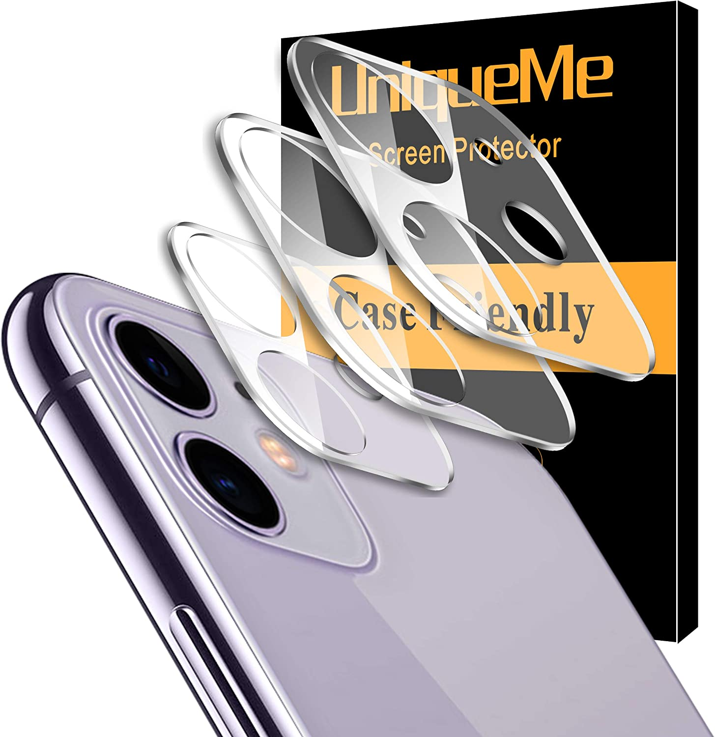 """[ 3 Pack ] UniqueMe Camera Lens Protector for iPhone 11 Tempered Glass [High Definition] Scratch Resistant 6.1"""""""