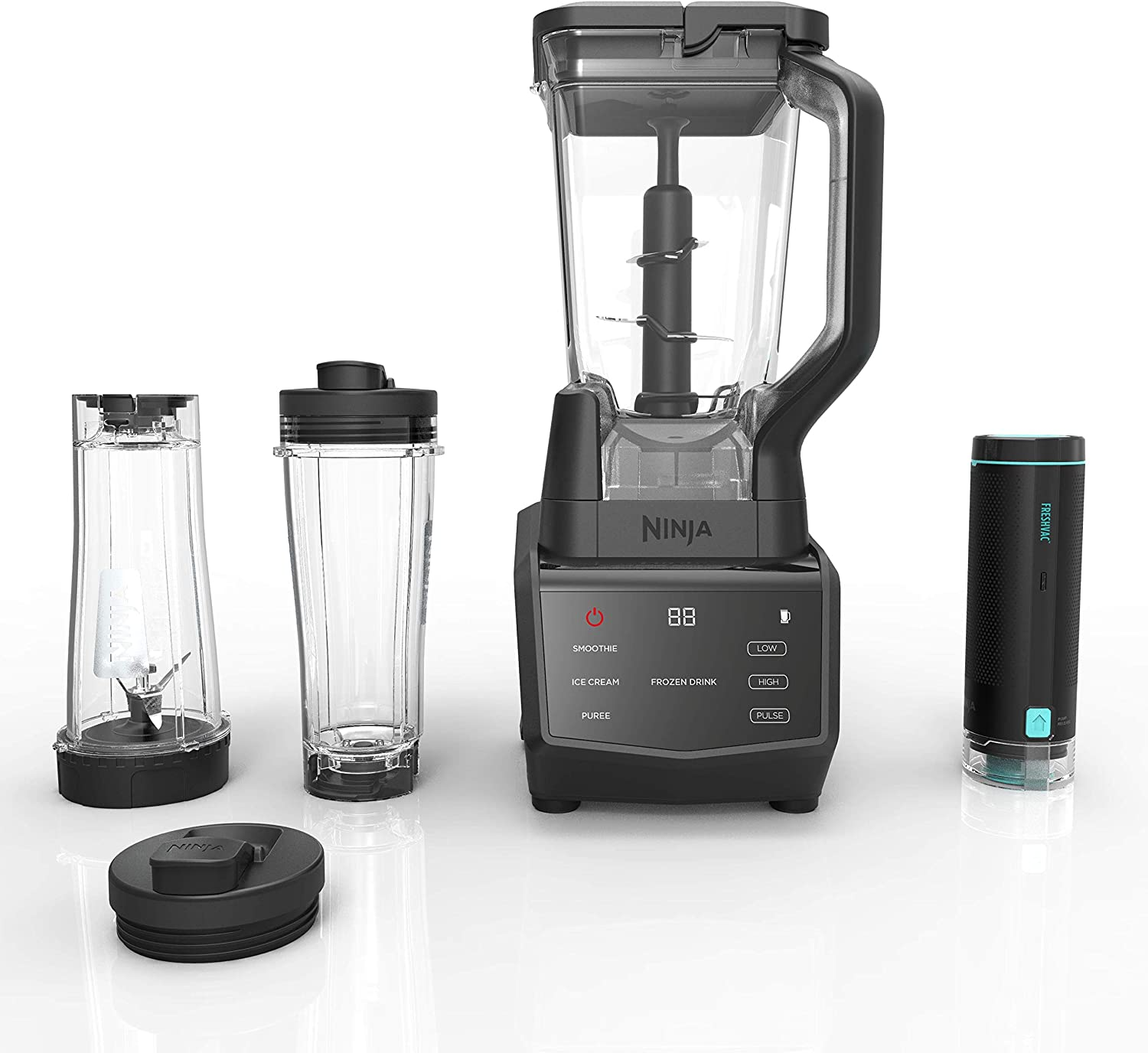 Ninja Smart Screen DUO Technology in Black CT661V Countertop Blender with Freshvac, 72 oz