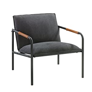 "Sauder 422355 Boulevard Cafe Metal Lounge Chair, L: 25.98"" x W: 28.35"" x H: 26.77"", Charcoal Gray finish"