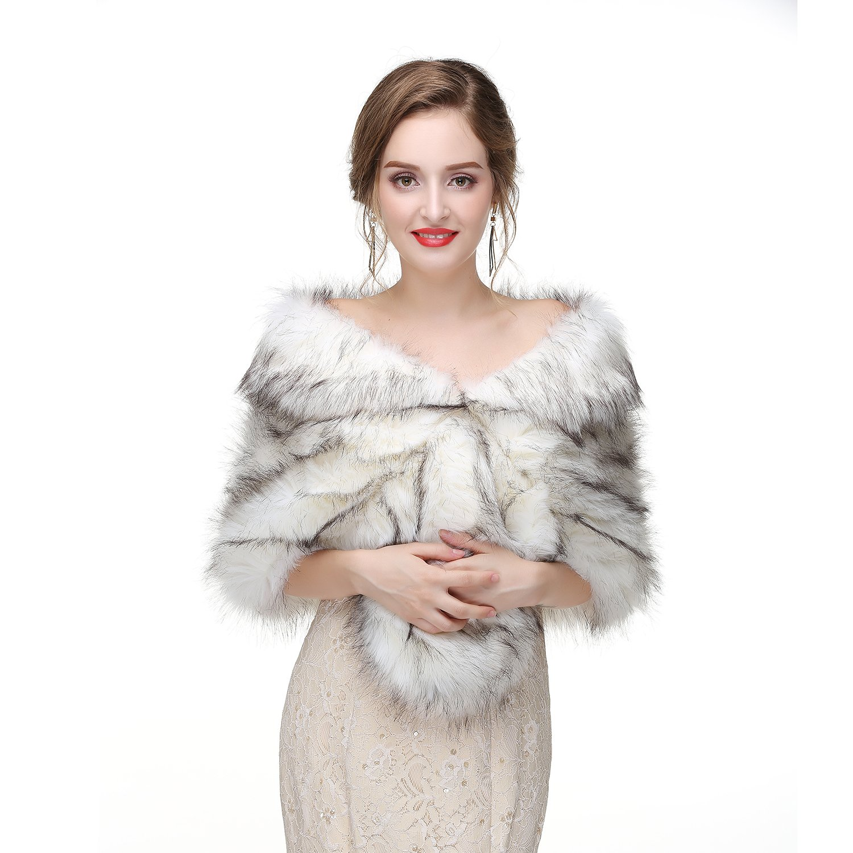 Leyidress Wedding Women Faux Fox Fur Wraps Shawls Stoles Cape Shrug for Bridal Evening Party