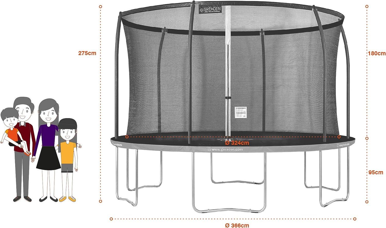 GREADEN Trampoline de Jardin Rond Freestyle /« /» 250//305//360//430 Pack M/édium /Échelle Kit dancrage