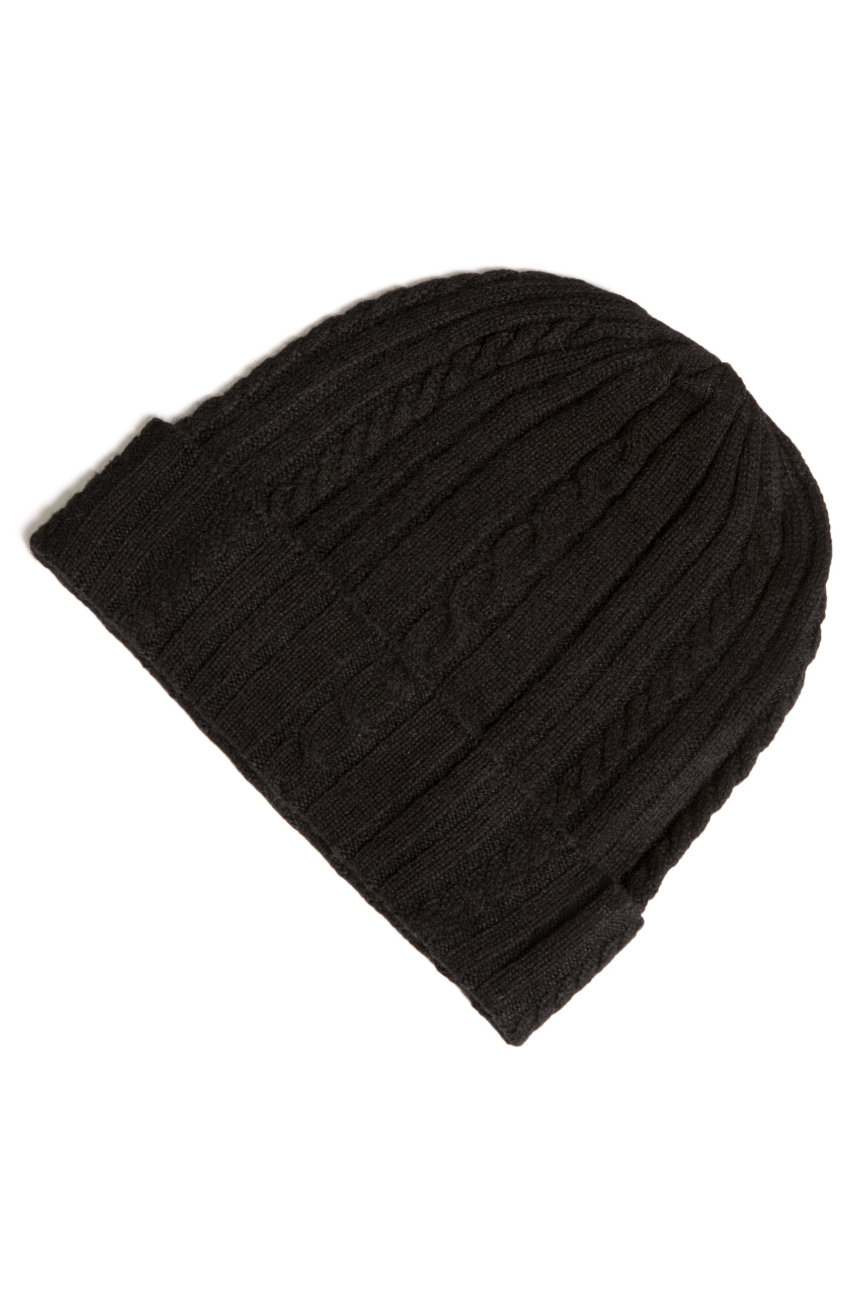 Fishers Finery Women's 100% Pure Cashmere Cable Knit Hat Super Soft Cuffed Black by Fishers Finery