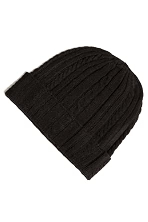 ff33b90b815 Fishers Finery Women s 100% Pure Cashmere Cable Knit Hat Super Soft Cuffed  Black
