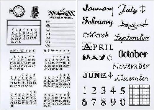 Outus 2 Hojas Sello Transparente de Silicona Sello de Calendario Sello de Días y Meses para Decoración de Diario DIY Scrapbooking y Álbum de Fotos: Amazon.es: Hogar