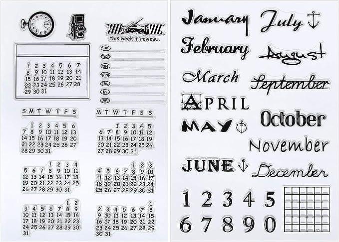 2 Hojas Sello Transparente de Silicona Sello de Calendario Sello ...