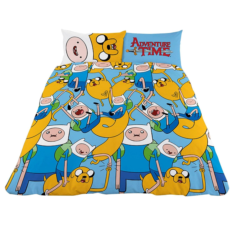 (アドベンチャータイム) Adventure Time オフィシャル商品 子供用 リバーシブル キャラクター 掛け布団カバー枕カバーセット (イギリスダブル) (ブルー/イエロー) B0749DNM5B ブルー/イエロー イギリスダブル