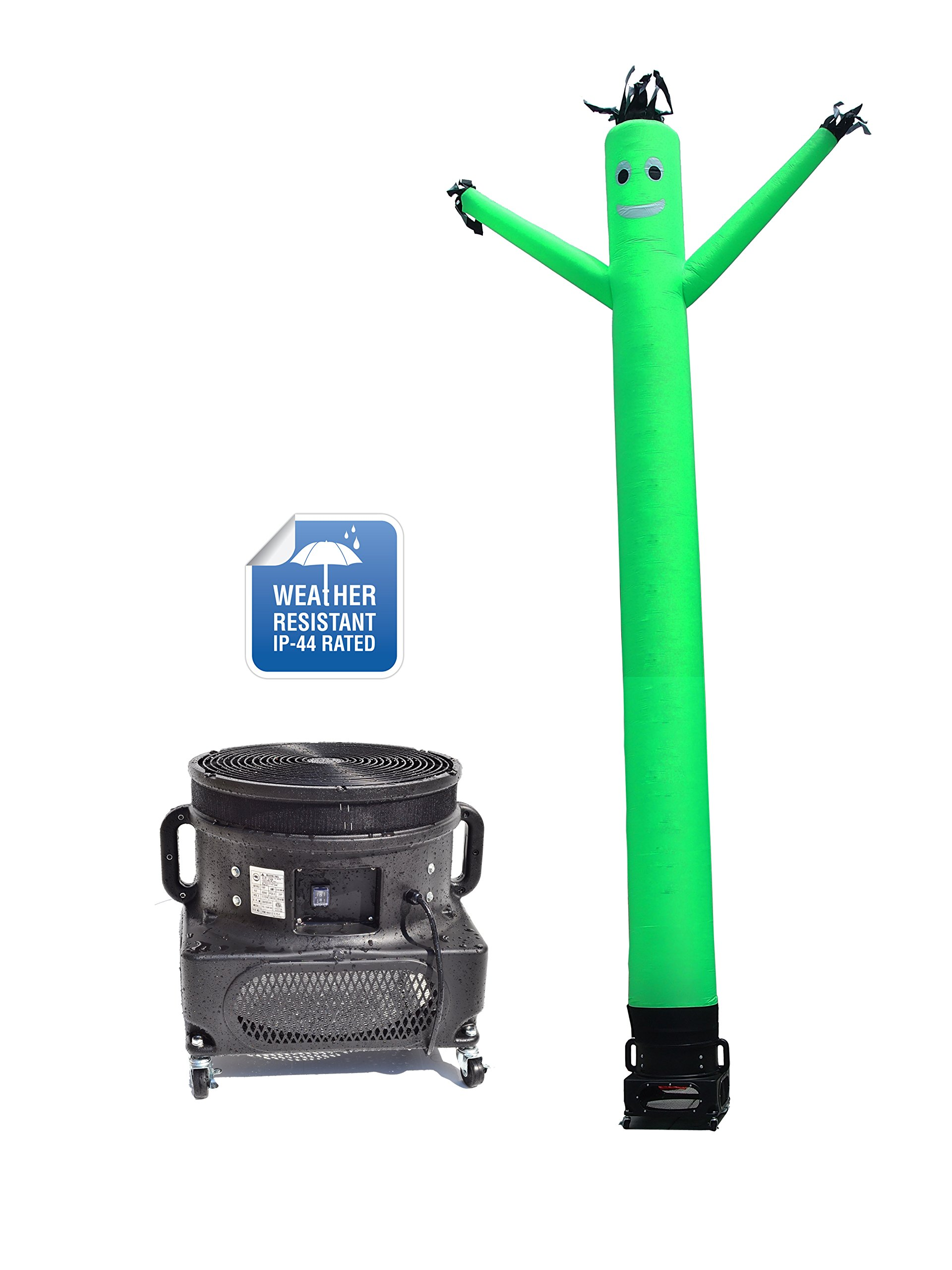 LookOurWay Air Dancers Inflatable Tube Man Complete Set with 1 HP Weather-Resistant Sky Dancer Blower, 20-Feet, Green