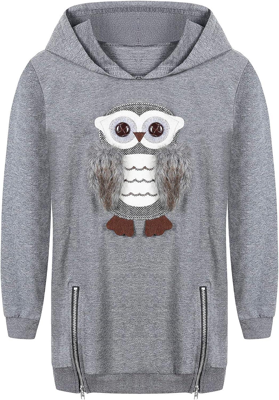 Cute Owl Hoodies Sweatshirts for Girls Kids Little Big Girls Grey Cotton Hooded