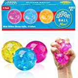 Power Your Fun Arggh Mini Glitter Stress Balls for Adults and Kids - 3pk Squishy Stress Ball Fidget Toys, Stress Relief and A