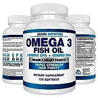 Omega 3 Fish Oil 2250mg - High EPA 1200MG + DHA 900MG Triple Strength Burpless Capsules...