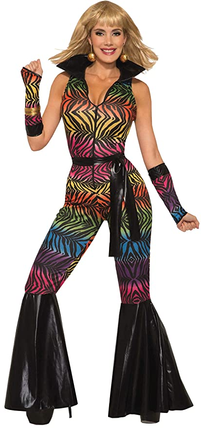 70s Costumes: Disco Costumes, Hippie Outfits Forum Womens Disco Rainbow Zebra Jumpsuit Adult Costume As Shown Standard $32.36 AT vintagedancer.com