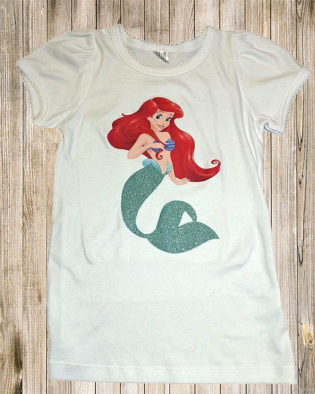 Amazon Ariel Birthday Shirt Little Mermaid Girl Handmade