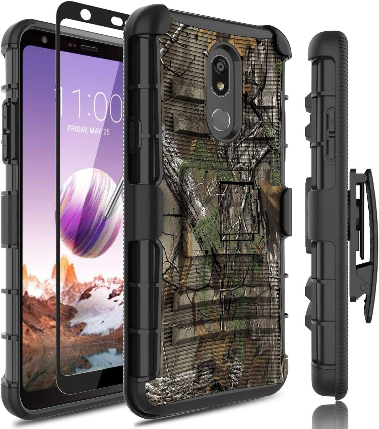 LG Stylo 5 Case,w/[Full Cover Tempered Glass Screen Protector] Bulit in Kickstand Heavy Duty Protection Holster Belt Clip PC Rugged Rubber Silicone Armor Phone Case Cover for LG Stylo 5(Camo)