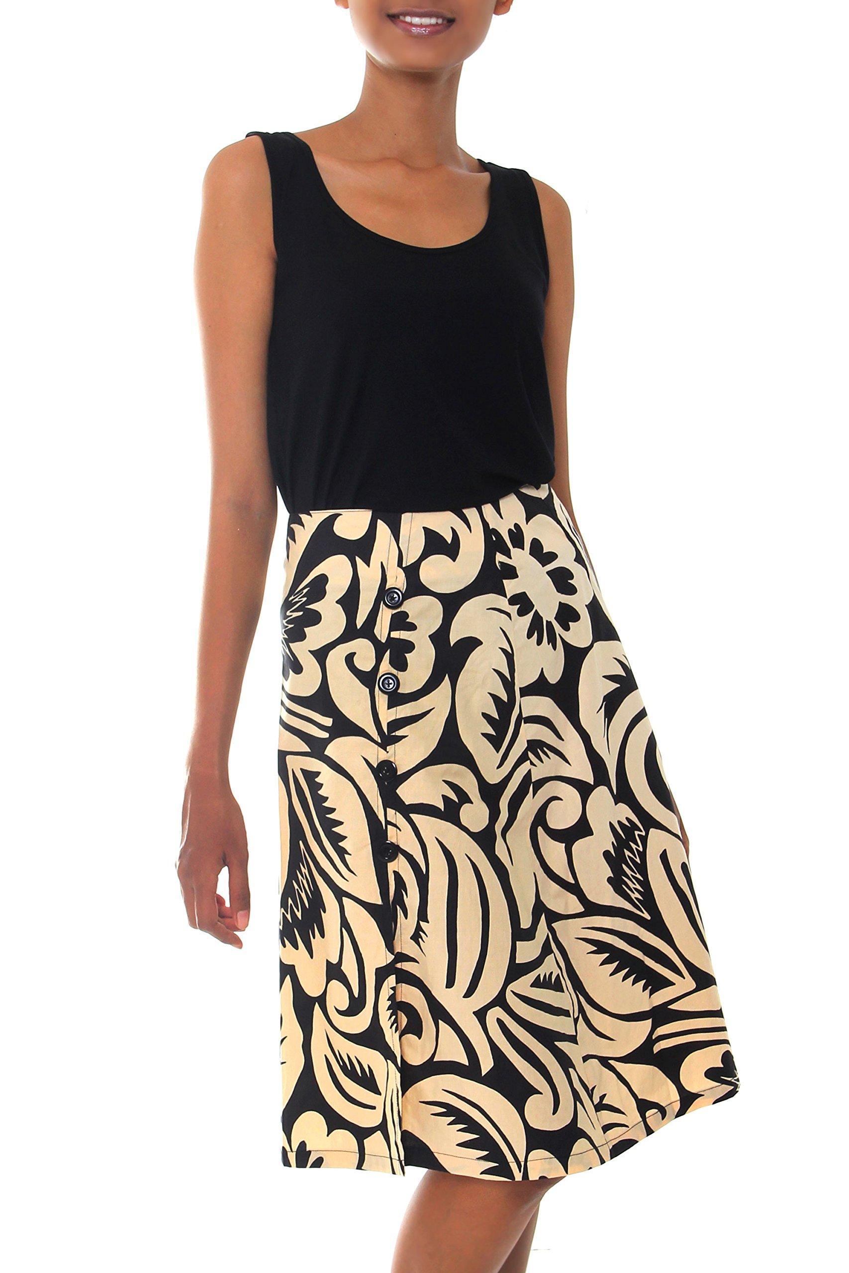NOVICA Black 100% Cotton Batik Wrap Skirt, 'Balinese Shadow'