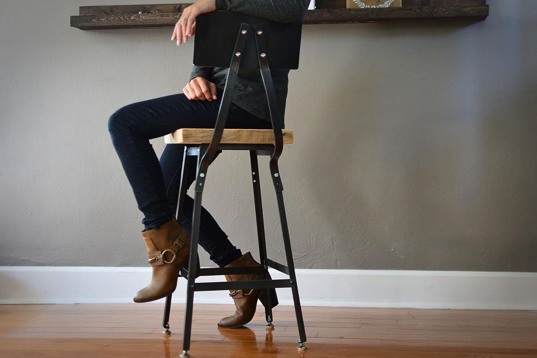 Reclaimed Wood Stool | Steel Backrest | Salvaged Barn Wood Seat