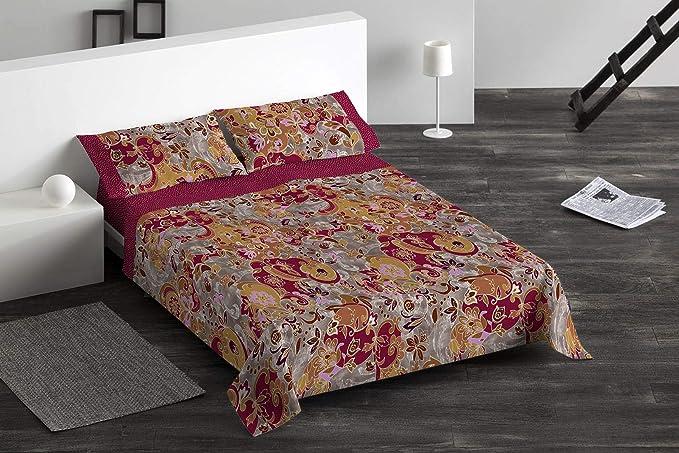 Burrito Blanco Juego de Sábanas 095 con Diseño Ornamental Algodón para Cama Individual de 90x190 hasta 90x200 cm/Juego de Cama 90, Color Rojo: Amazon.es: Hogar