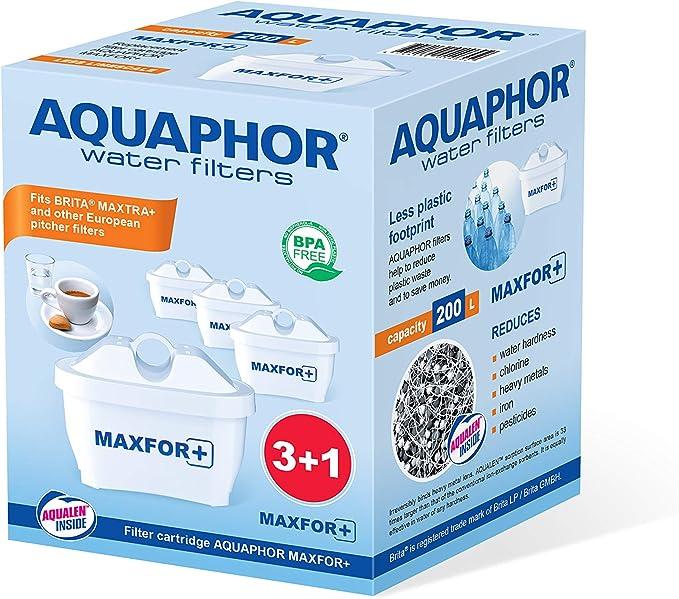 AQUAPHOR MAXFOR+ Pack 3+1 Cartucho de Filtro de Agua, Blanco, 200 l: Amazon.es: Hogar