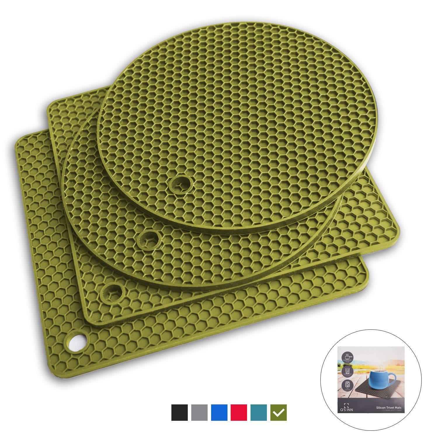 Q's INN Olive Silicone Trivet Mats | Hot Pot Holders | Drying Mat. Our 7 in 1 Multi-Purpose Kitchen Tool is Heat Resistant to 440°F, Non-slip, durable, flexible easy to wash and contains 4 pcs.