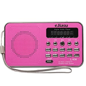 eJiasu Multifunction Mini Portable FM Radio Receiver Support MP3 Music Player TF/SD Card/USB Port/LED Screen Display/Flashlight/Rechargeable Battery/Headphone Output/Lanyard for PC iPod iPhone (Rose)