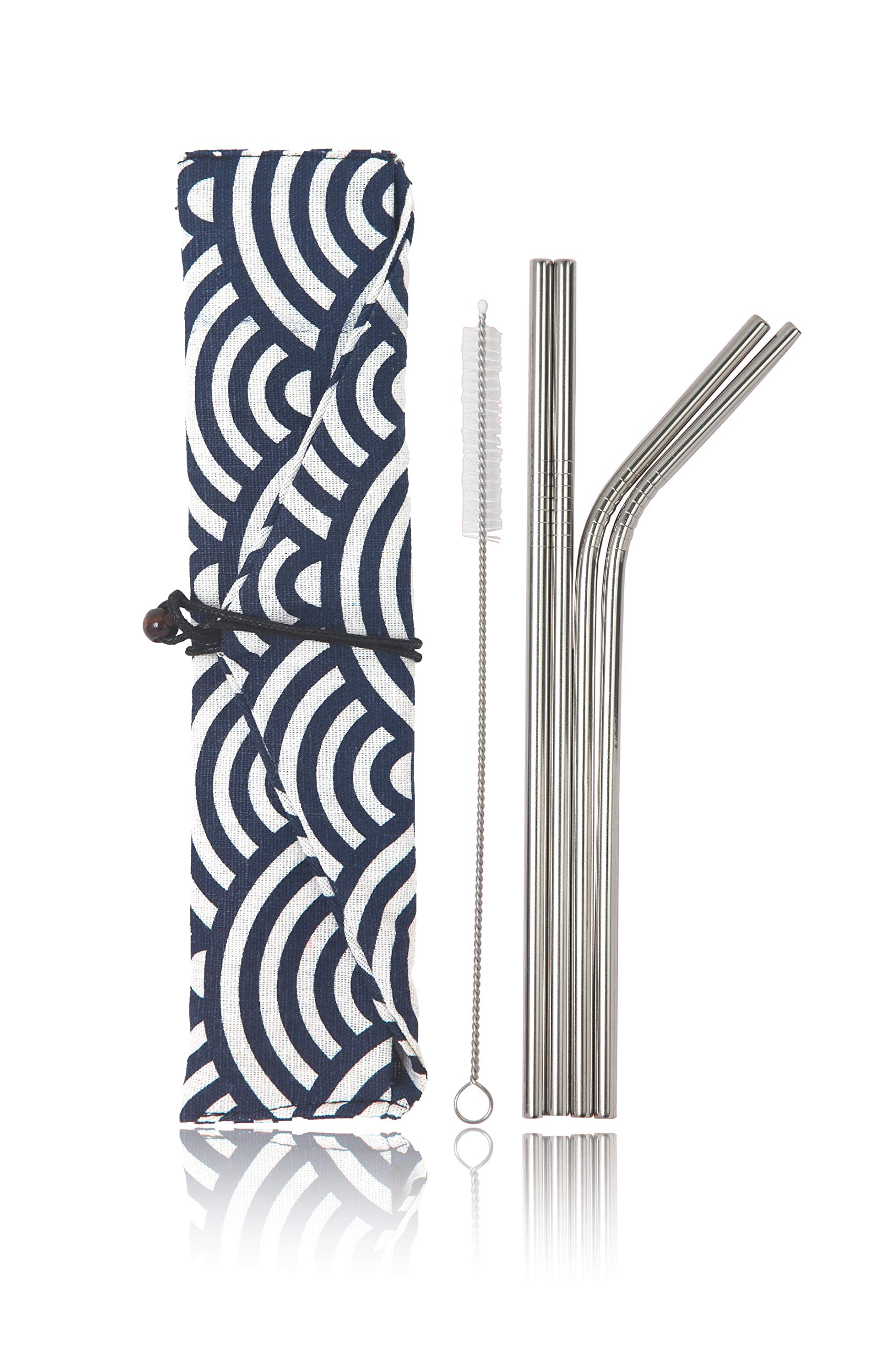 Stainless Steel Reusable Metal Straws -Portable Food Grade 4 Pack 8.5'' Cleaning Brush and Stylish Cloth Bag case Included. Fit 20 oz. tumblers. (Big Waves)