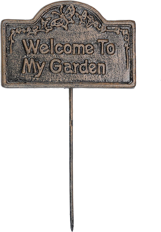 Oakland Living Decorative Garden Marker, Welcome to My Garden, Antique Bronze