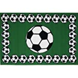 "Homemusthaves Light Green Soccer Ball Pattern Athletes Kids Ideal Gift For Boys Girls Children Area Rug Carpet Perfect For Playroom Bedroom Daycare With Safe Non-Slip Backing (19"" x 29"")"
