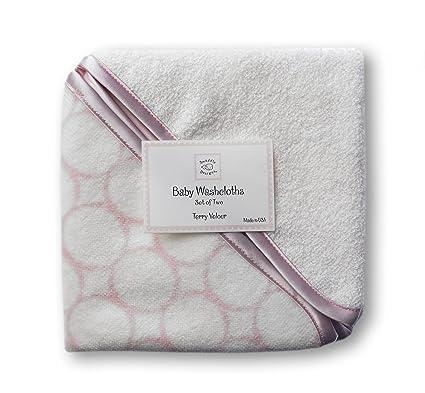 SwaddleDesigns Toallitas de Velour Orgánico Bebé, Círculos con acabado satinado, Rosa pastel, Set