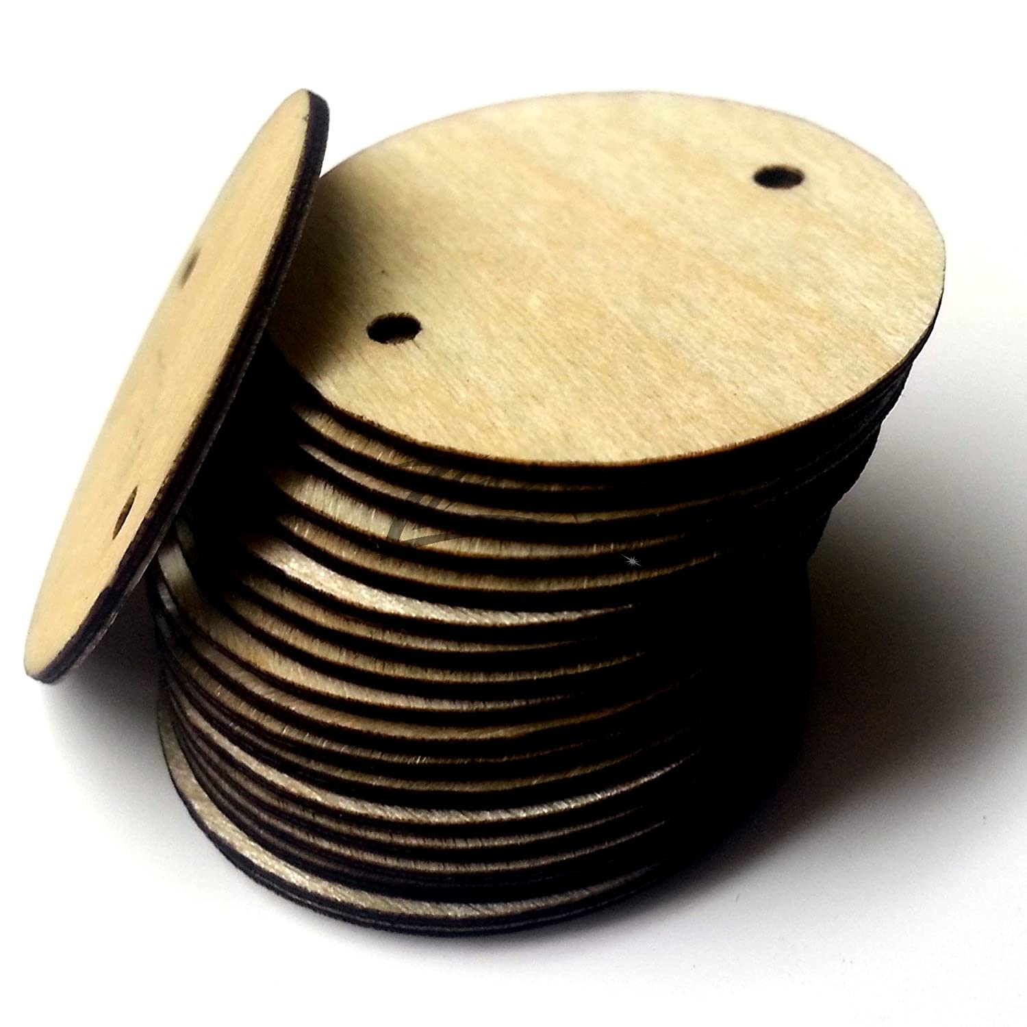 Zlazr 50 1 X 132 Small Super Thin Wooden Circles Family Birthday Craft Disc Two 2mm Hole Tags Unfinished Birch Wood Made In The Usa